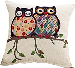 Chezmax Cotton Linen Blend Cushion Square Decorative Throw Pillow Cover/Shell Owl Series Owl Couple
