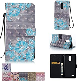 LG Stylo 3 Case, LG Stylus 3 Case, LG Stylo 3 Plus Case, Firefish [Kickstand] [Card/Cash Slots] Flip Cover Impact Dispersion Wallet with Wrist Strap for LG Stylo 3 / Stylus 3 -Blue Flower