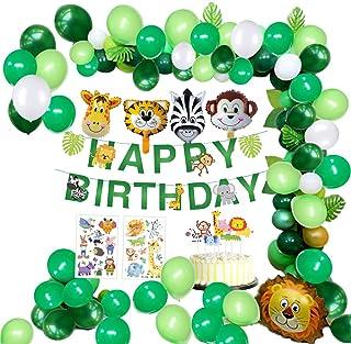 MMTX Selva Fiesta de cumpleaños Decoracion Niño-Feliz cumpleaños Feliz con Hojas de Palma Globos de Latex y Safari Bosque Animal Globos para Niño Cumpleaños Baby Shower Decoración (65 Piezas)