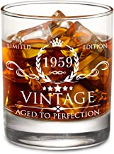 1959 60th Birthday Gifts for Men and Women Lowball Whiskey Glass - Vintage Funny Anniversary Gift Ideas for Mom, Dad, Husband, Wife - 60 Years Gifts, Party Favors, Decorations for Him or Her - 11oz