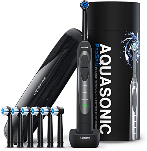 2021 AquaSonic ProSpin – Ultra Whitening & Plaque Removing Electric Toothbrush – Smart popular LED Pressure Sensor for Enamel & Gums – 3 Modes - Wireless Charging –Lithium Ion -6 Dual Action Heads & sale Travel Case online