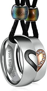 Couple Necklace for His Hers Stainless Steel Rope Pendant Puzzle Heart Engraved I Love You CZ Rings
