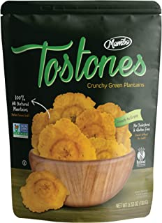 Mambo Tostones, All-Natural Green Plantains Tostones, 3.53 oz unit,1 bag, Plantain Chips, Tostones Chips, Gluten-Free, Only Three Ingredients Tostones