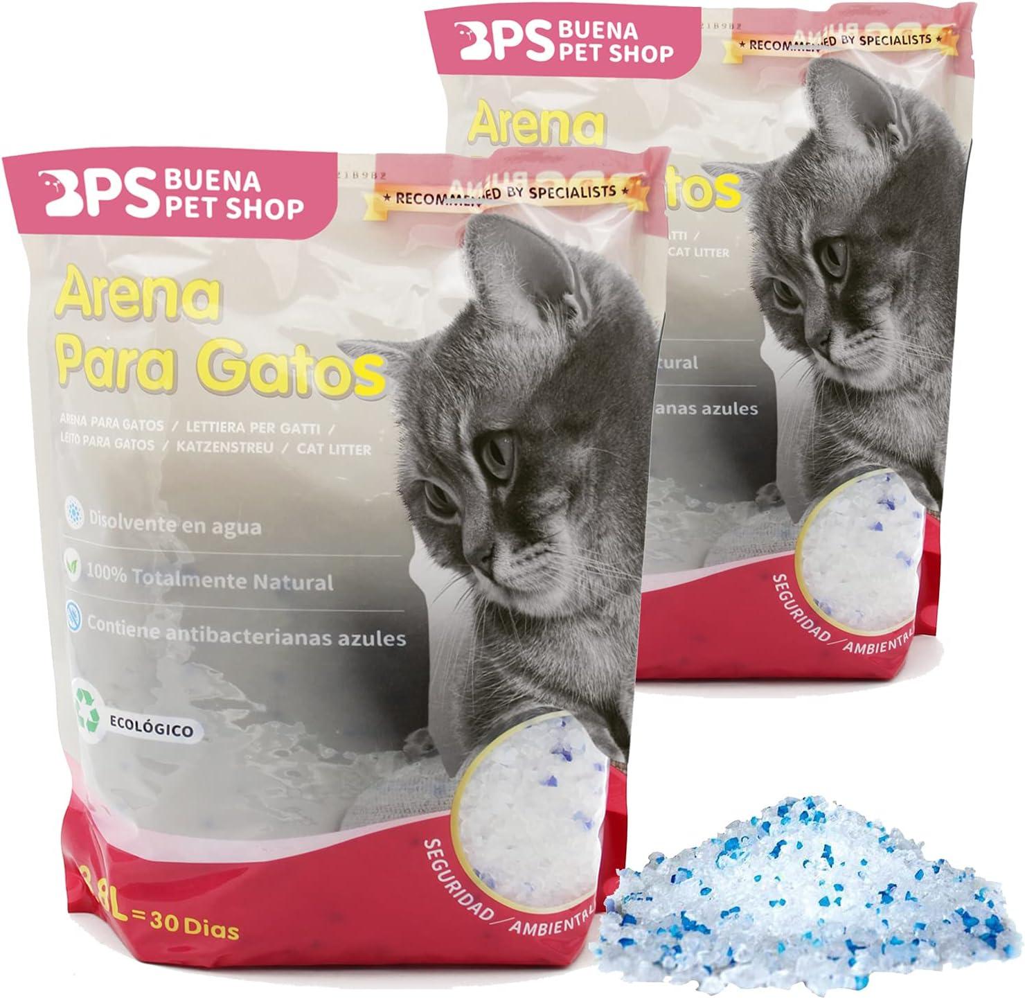 BPS 7.6 L Arena de Sílice para Gatos Arena Blanco Fresco Mascotas Cat Litter 4 Tamaños 3.8L/7.6L/15.2L/30.4L para Elegir (7.6 L) BPS-3200 * 2