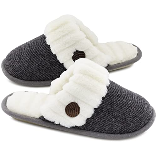 f904b1fc056 HomeTop Women s Cute Comfy Fuzzy Knitted Memory Foam Slip On House Slippers  Indoor