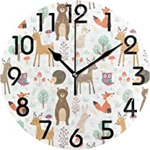Naanle Chic Pattern Print Fashion Wall Clock, Battery Operated Quartz Analog Quiet Desk Clock for Home,Office,School 9.5in Multi g13239310p239c274s441