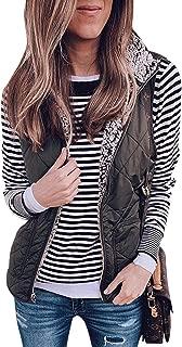 Women's Warm Sherpa Fleece Vest Reversible Wear Zip Up Front Sleeveless Cardigan Overwear Coats Jacket with Pockets