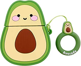 Cute AirPods Case,AKXOMY for Airpods 1 & 2 Soft Silicone 3D Avocado Case with Charging Case, Finger Loop Protective Mini Bag Protector Shockproof Creative Gift Girls Boys Kids (Avocado)