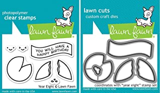 Lawn Fawn - Year Eight - Fortune Cookie Stamp and Die Set - 2 Item Bundle