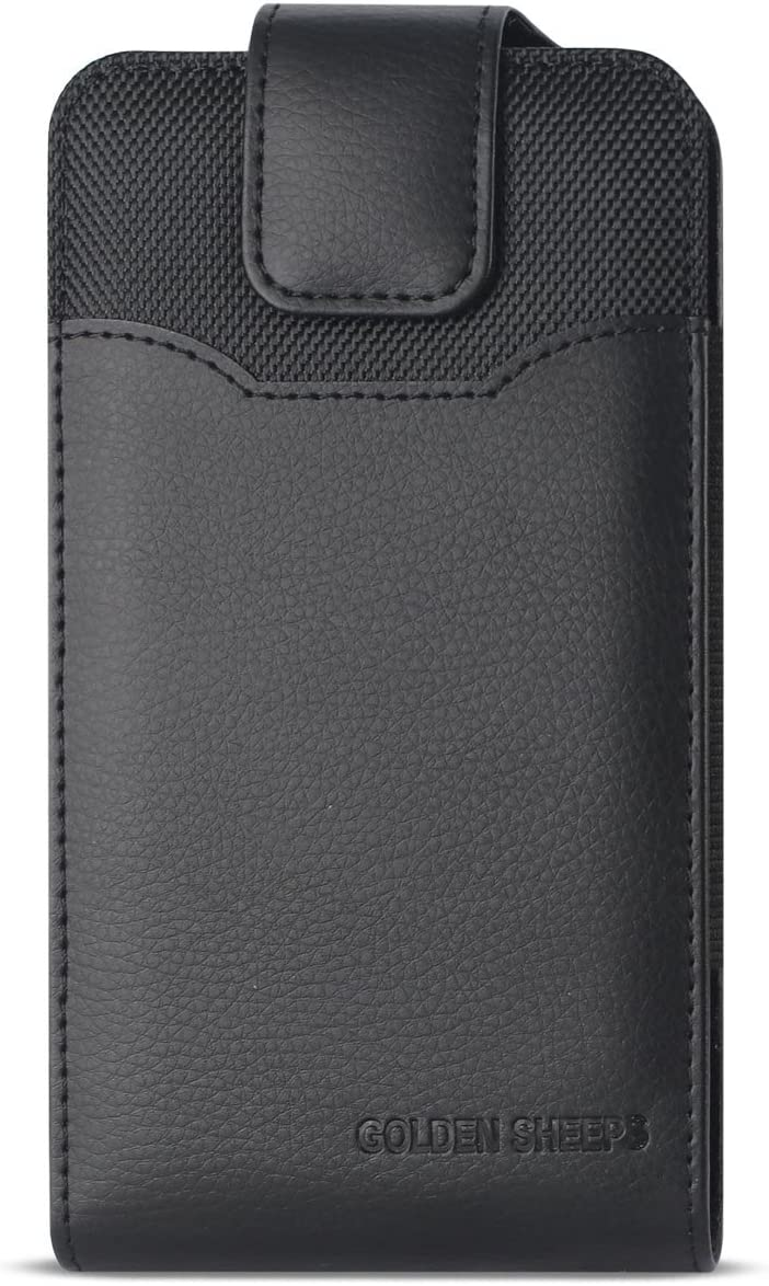 Golden Sheeps Compatible for Samsung S10 PLUS, S9 Plus ,S8 Plus Vertical Leather Belt Clip Holster Pouch Case Cover (Phone with OTTER BOX Defender/Extended Battery or Thick Case On)