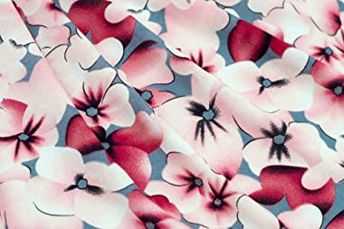 Fabric Merchants Rayon Challis Floral Fabric by The Yard, Gray/Pink 3 Yards