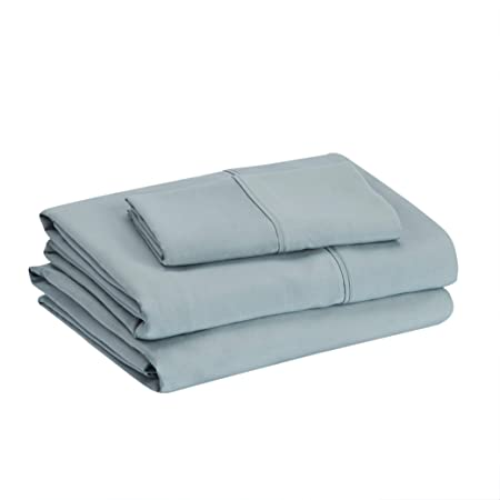"""Amazon Basics Lightweight Super Soft Easy Care Microfiber Bed Sheet Set with 14"""" Deep Pockets - Twin, Spa Blue"""