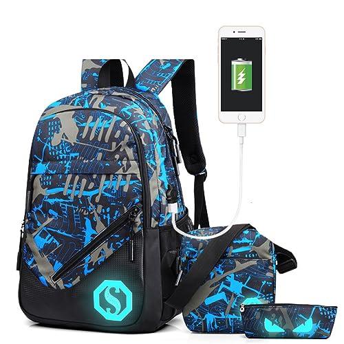 6b1deb8287 Ultra Light Water Resistant Boy School Backpack Set 3 Pieces School Bags Set  for Teenage Boys