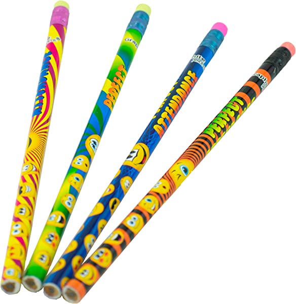 Funny Face Perfect Attendance Pencil Assortment 144 Per Pack Assorted Styles Round Pencil With Eraser 2 Lead For Children Adults Children S Gift Bags Carnival Prizes