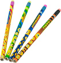 Funny Face Perfect Attendance Pencil Assortment - (144) Per Pack - Assorted Styles - Round Pencil with Eraser, 2 Lead, For Children, Adults, Children's Gift Bags, Carnival Prizes