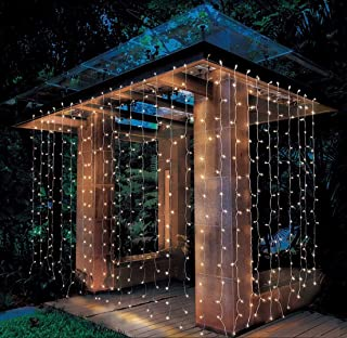 AIDDOMM 300 LED Curtain Lights, for Bedroom Outdoor Indoor, Waterproof, Warm White, 8Modes