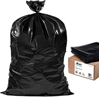 "Plasticplace Contractor Trash Bags 42 Gallon │ 4.0 Mil │ Black Heavy Duty Garbage Bag │ 33"" x 48"" (50 Count)"