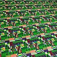 アフリカンプリント布 生地 African Textile 110cm x 180cm (2yards) カット売り barg-e24