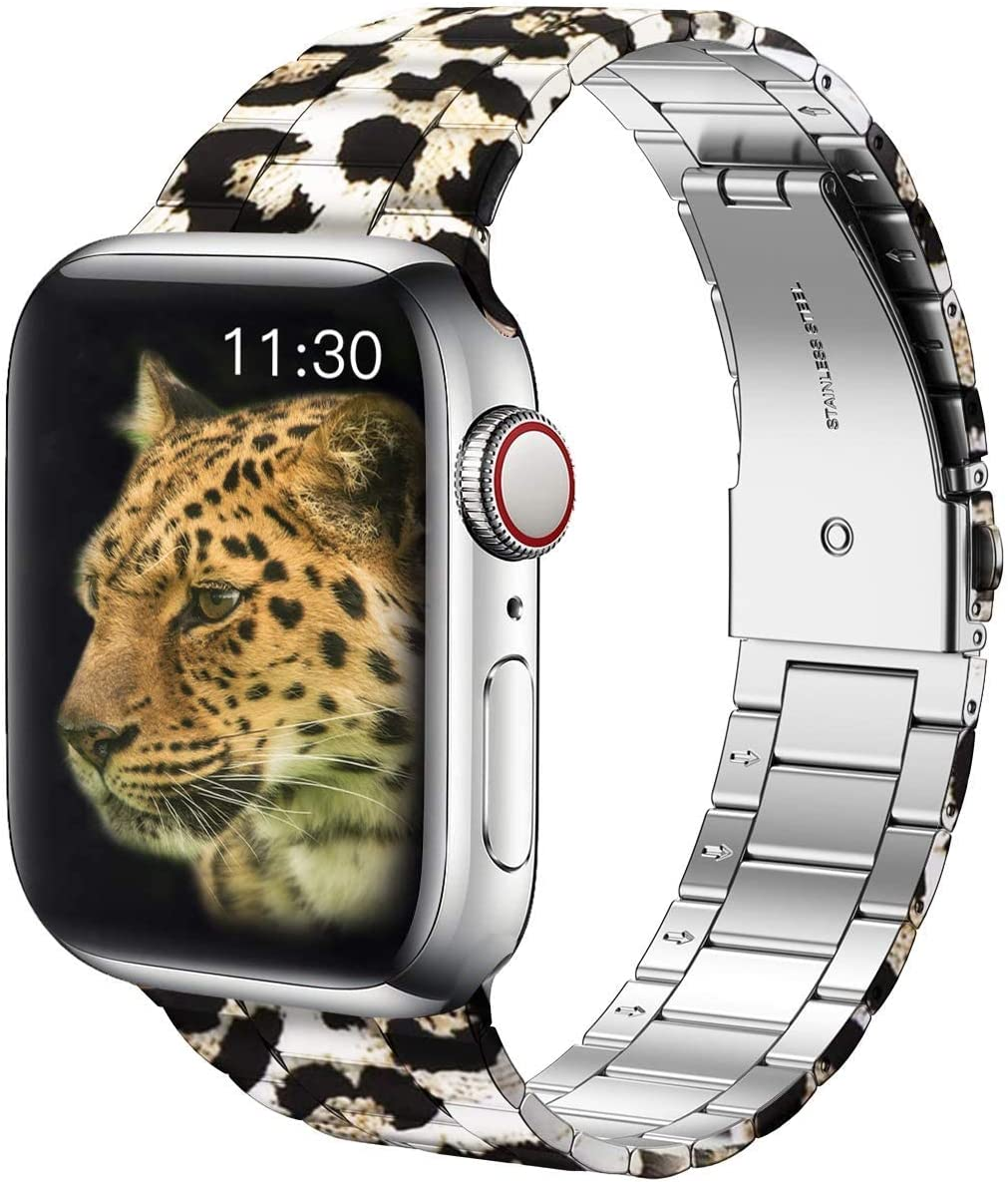 baozai Compatible with Apple Watch Band Women 41mm 40mm 38mm, Leopard Cheetah Fashion Stainless Steel Wristbandfor Apple Watch Series 7 6 5 4 3 2 1 SE, Leopard