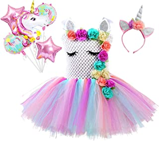 SPUNICOS Girls Pastel Unicorn Tutu Costume Unicorn Birthday Party Dress with Unicorn Balloon Bouquet,Unicorn Headband
