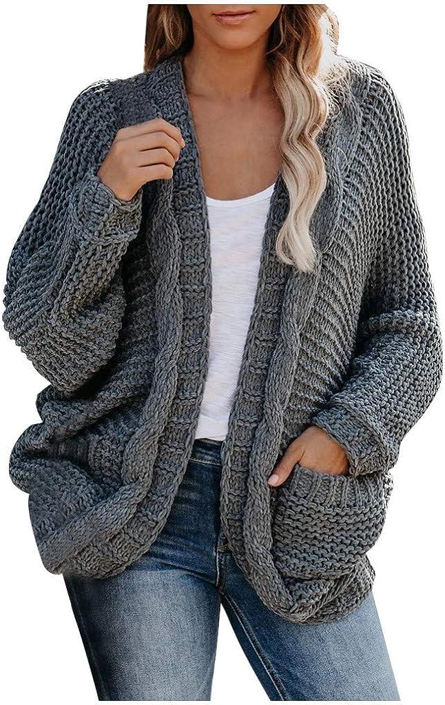 Vinyl Etchings Women's Kimono Cardigans Sweater Loose Oversized Knited Wrap Chunky Cardigan Sweater Coat with Pocket