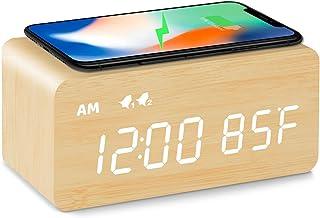 ساعت زنگ دار چوبی دیجیتال MOSITO با شارژ بی سیم ، کم نور 0-100٪ ، زنگ هشدار دوگانه ، حالت روزهای هفته / آخر هفته ، تعویق ، ساعتهای LED چوبی برای اتاق خواب ، کنار تختخواب ، میز کار ، کودکان (بامبو)