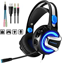 PHOINIKAS H4 Wired Stereo Gaming Headset for Xbox One,PS4, PC, Laptop, Nintendo Switch Games,Over Ear PC Gaming Headphones with Mic, Surround Sound, Noise Isolation, Volume Control,Led Light (Blue