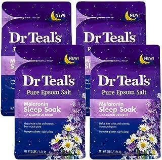 Dr. Teal's Melatonin Sleep Soak with Essential Oil Blend Pure Epsom Salt Soaking Solution 3lbs Pack of 4