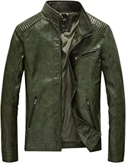 HOW'ON Men's Vintage Casual Stand Collar Pu Leather Jacket