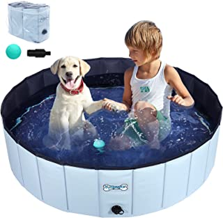V-HANVER Dog Pool Pet Bathing Tub Plastic Wading Kiddie Pool for Medium and Large Dogs Kids - Portable Foldable Collapsible, 47 X 12 inch Upgrade Version
