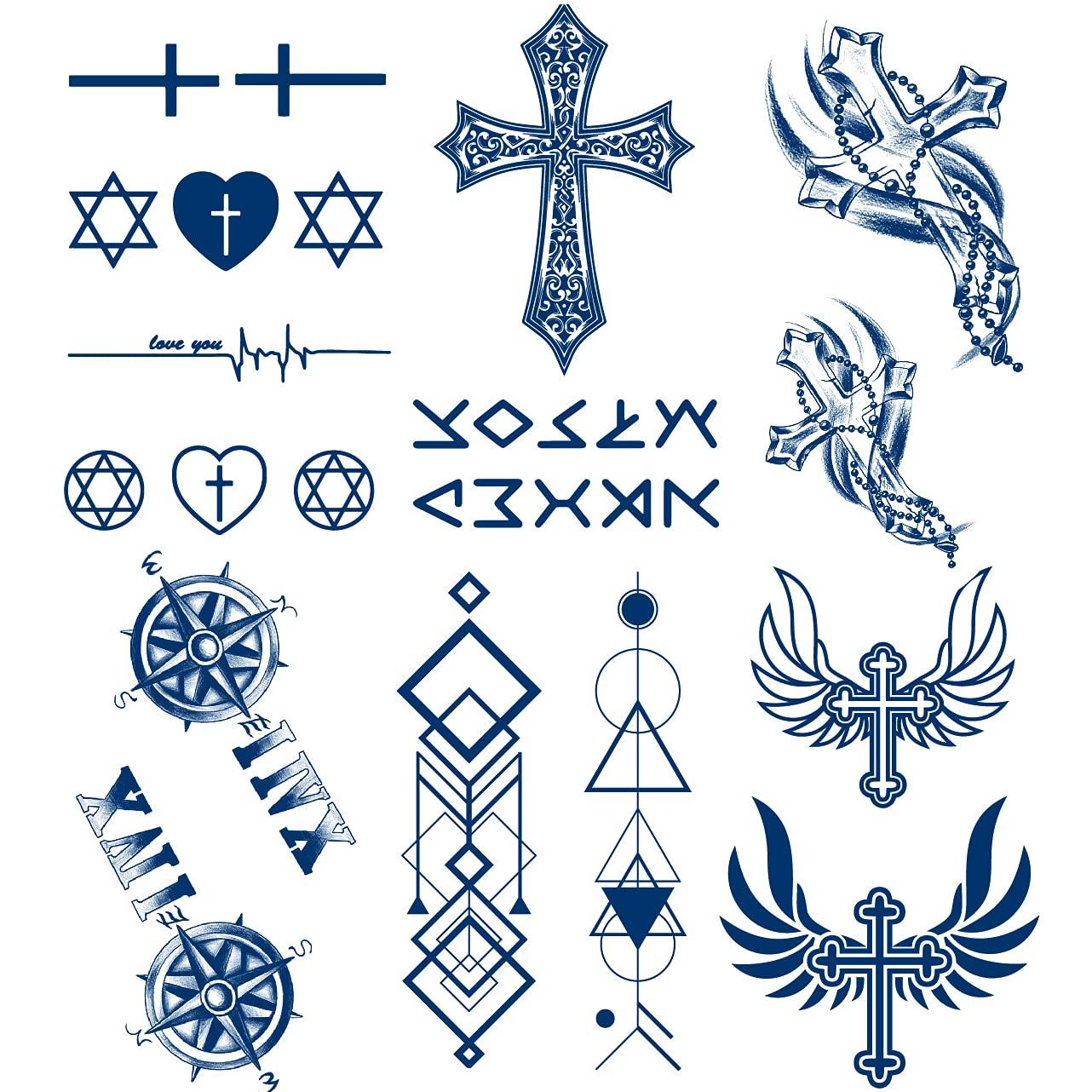 Cheap mail order shopping Max 47% OFF 6 Sheets PADOUN Long Lasting Temporary Cross Tattoos Waterproof