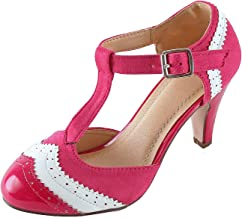 Guilty Heart Womens T-Strap Ankle Strap Retro Pump - Cut Out Comfortable Ankle Buckle Shoe Pump