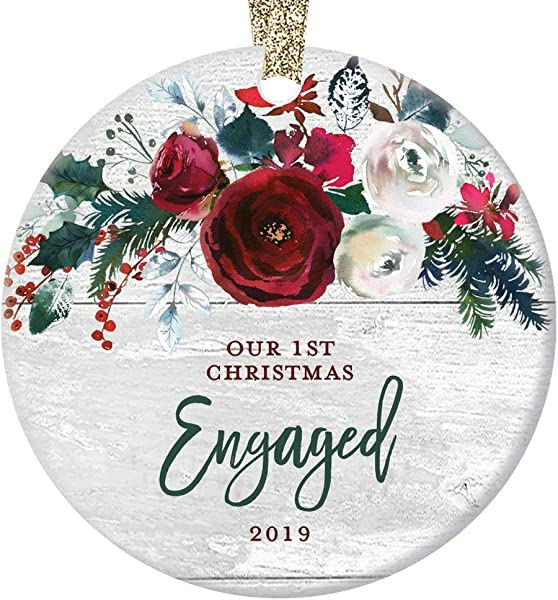 Modern Farmhouse Engagement Ornament 2019 First 1st Christmas Engaged Gift For Couple Bride Groom To Be Rustic Ceramic Keepsake Present 3 Flat Circle Porcelain With Gold Ribbon Free Box