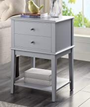 Coniffer Night Stand Modern Wood End Table with Drawer and Storage Shelf for Bedroom (Gray)