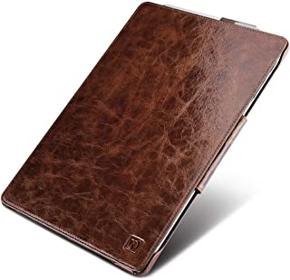 icarercase Surface Pro 7 (2019)/ Surface Pro 6/ New Surface Pro 2017 Leather Case, Oil Wax Genuine Leather Magnetic with Kickstand/ Keyboard Cover/ Pen Loop Folio Flip Case for Surface Pro 4 (Coffee)