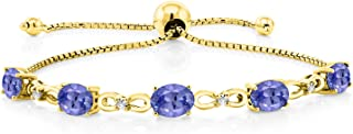 Gem Stone King 3.75 Ct Oval Blue Tanzanite 18K Yellow Gold Plated Silver Diamond Bracelet