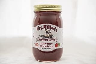Mrs Miller's Amish Homemade All Natural Strawberry Rhubarb Jam 18 oz (No Corn Sugar)