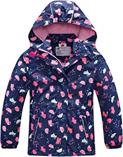 Girls Rain Jacket – Waterproof Jacket for Girls with Hood,Best for Rain School Day,Hiking and Camping