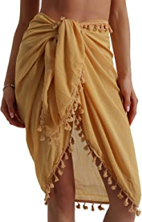 Eicolorte Beach Sarong Pareo Womens Linen Cotton Swimwear Cover Ups Short Skirt with Tassels
