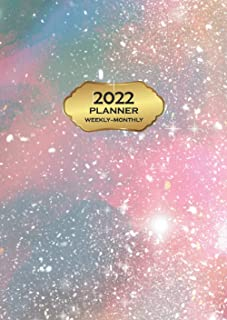 2022 Planner Weekly & Monthly: 12 Month Dated Diary & Calendar Size A5, January to December, Gold & Galaxy Cover | Year At...