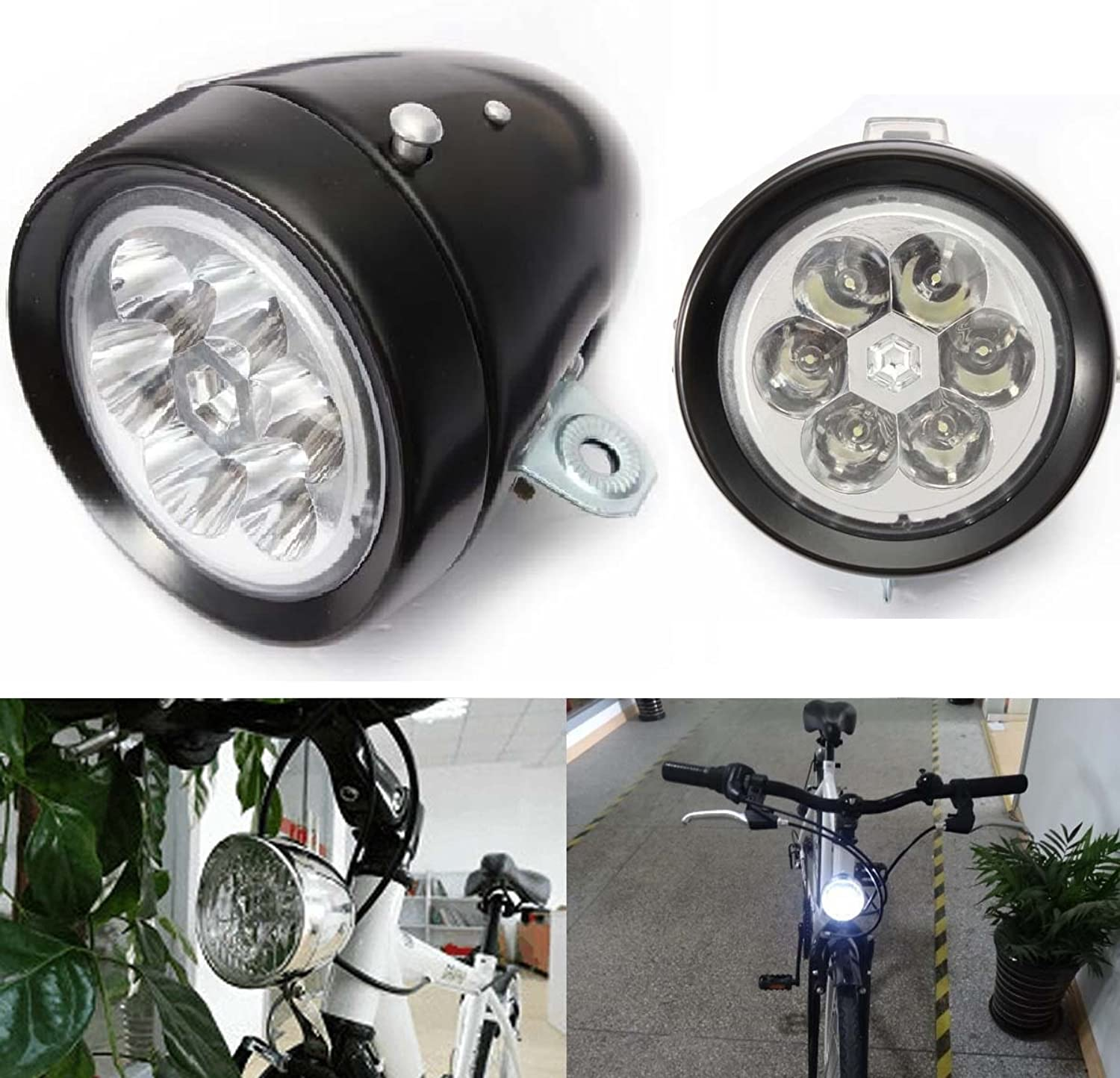 StarArt Vintage Retro Bicycle Bike Front Light Lamp 7 LED Fixie Headlight with Bracket (Black)