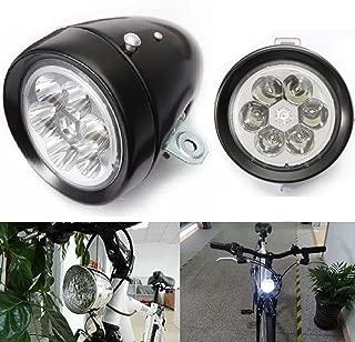 Star-Art Vintage Retro Bicycle Bike Front Light Lamp 7 LED Fixie Headlight with Bracket (Black)