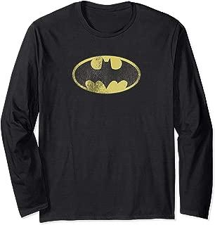 Batman Retro Bat Logo Distressed Longsleeve T Shirt Long Sleeve T-Shirt