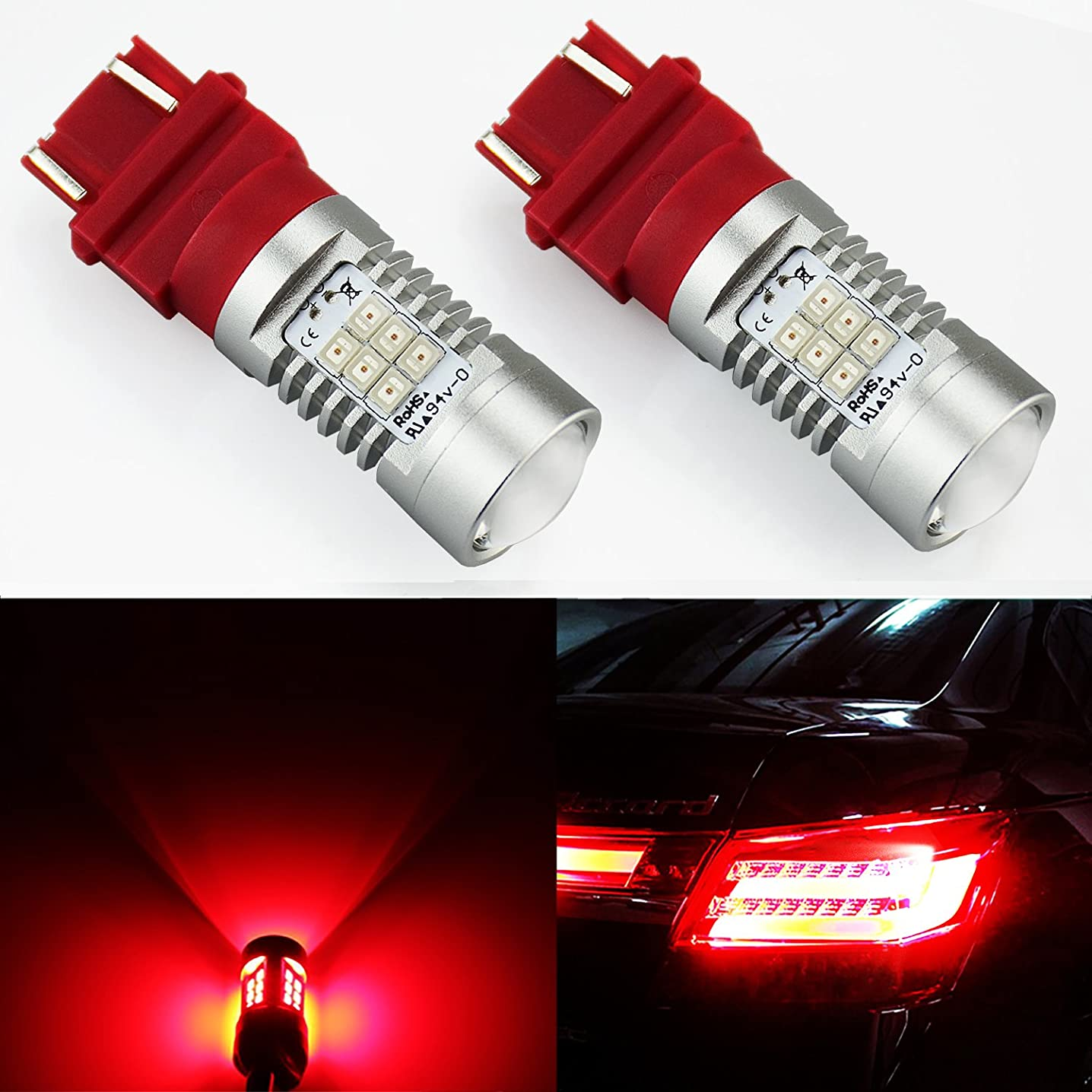 JDM ASTAR 1260 Lumens Extremely Bright PX Chipsets 3056 3156 3057 3157 LED Bulb For Brake Light Tail lights Turn Signal, Brilliant Red
