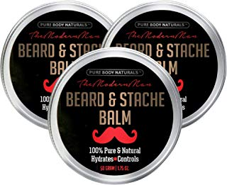 Natural Beard Balm for Men, Non-Greasy Beard Wax and Conditioner for Beard Growth, Amber Musk Scent Mustache Wax, Beard Conditioner, Softening Beard Care by Pure Body Naturals, 1.75 Ounces