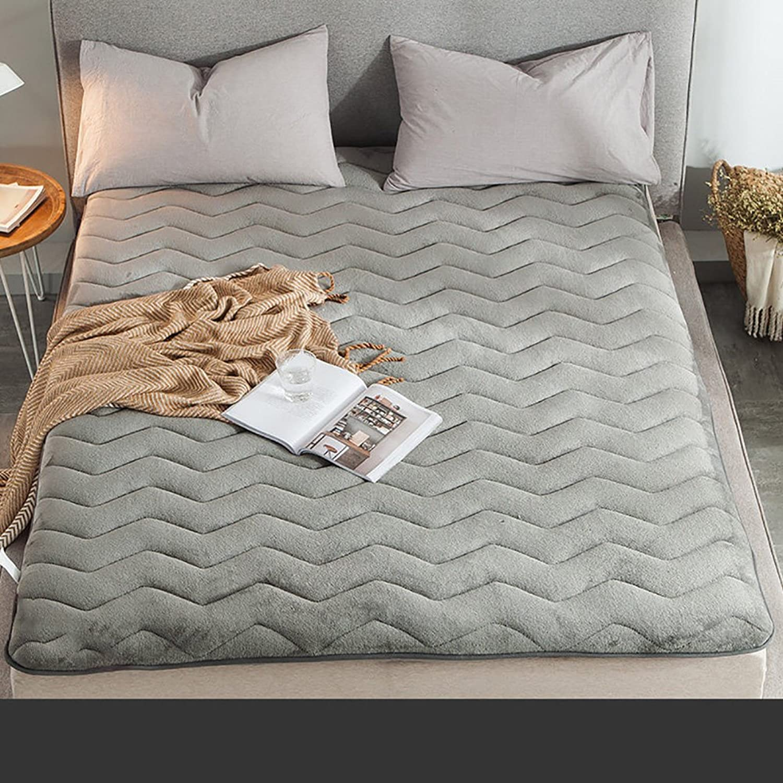 Flannel Plush Thick Tatami Floor Mattress,Soft Mattress Topper Overfilled Mattress pad Chemical-Free Anti-mite Fabric-A 90x200cm(35x79inch)