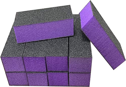 wholesale 10 sale Pcs Nail Buffer Sanding Block Polisher Buffing File 100/180 Grit 3 Sides Nail discount Files Art Pedicure Manicure File(Black Purple) sale