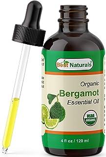 Best Naturals Certified Organic Bergamot Essential Oil with Glass Dropper Bergamot 4 FL OZ (120 ml)