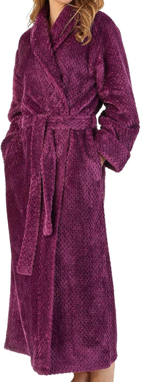 Slenderella Ladies Waffle Dressing Gown Soft Flannel Fleece Shawl Collar Wrap Bath Robe (S  XXXL)