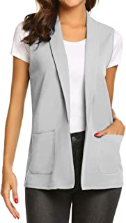 Women Open Front Work Office Vest Casual Sleeveless Blazer with Pockets S-XXL